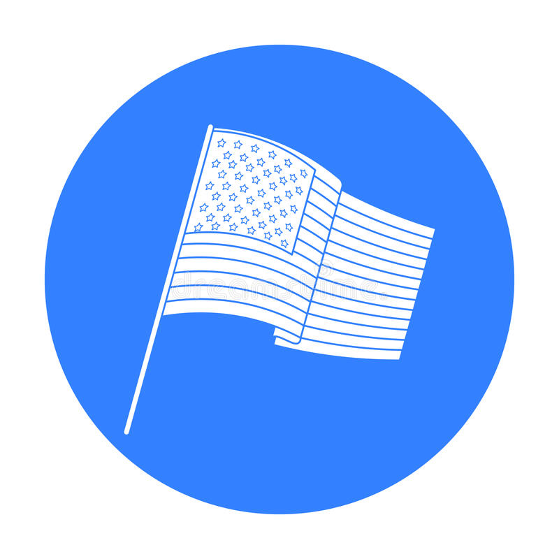 Σημαία του Ηνωμένου εικονιδίου στο μαύρο ύφος απομονώνω στο άσπρο υπόβαθρο Διανυσματική απεικόνιση αποθεμάτων συμβόλων ΑΜΕΡΙΚΑΝΙΚ διανυσματική απεικόνιση