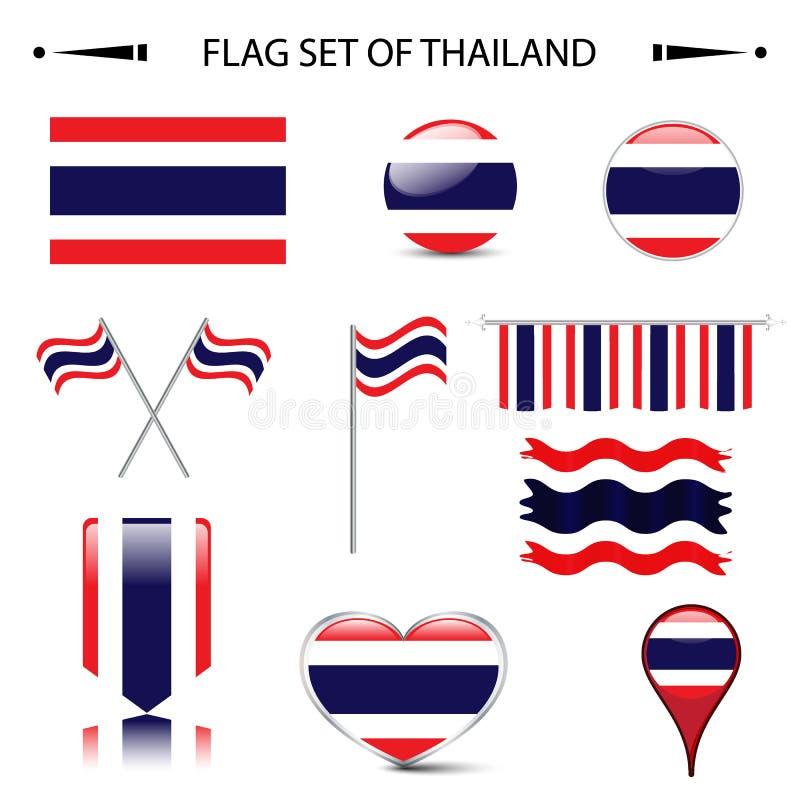 Σημαία του διανυσματικού συνόλου της ΤΑΪΛΑΝΔΗΣ απεικόνιση αποθεμάτων