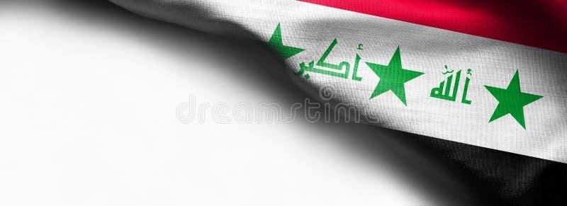 Σημαία του Ιράκ που κυματίζει στο άσπρο υπόβαθρο - σωστή τοπ σημαία γωνιών στοκ εικόνες
