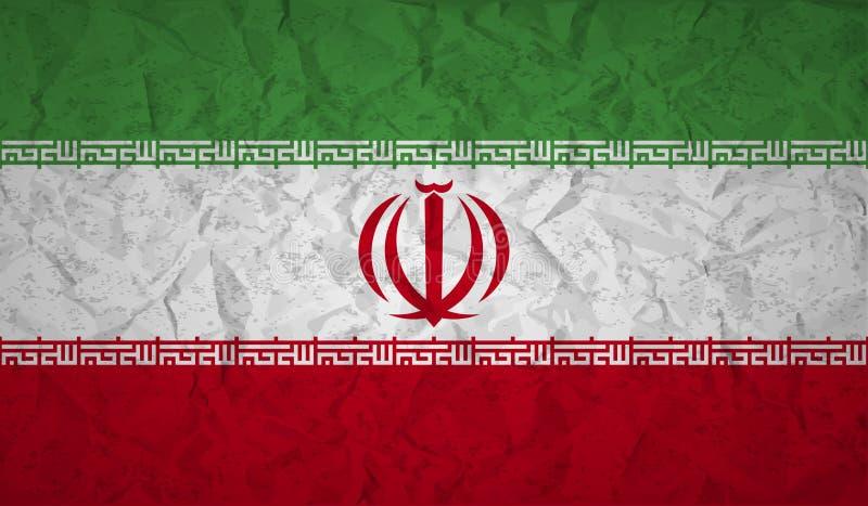 Σημαία του Ιράν με την επίδραση του τσαλακωμένου εγγράφου και grunge απεικόνιση αποθεμάτων