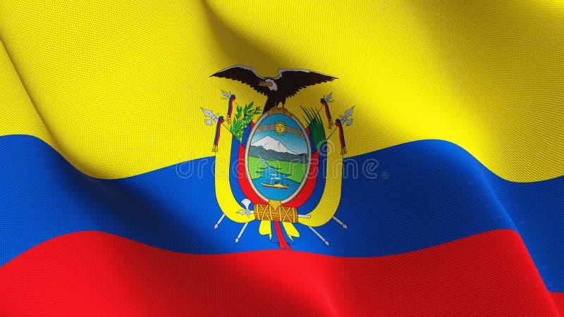 Σημαία του Ισημερινού που κυματίζει στον αέρα διανυσματική απεικόνιση