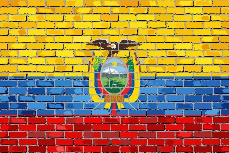 Σημαία του Ισημερινού σε έναν τουβλότοιχο ελεύθερη απεικόνιση δικαιώματος