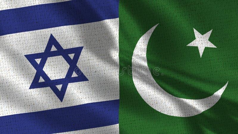 Σημαία του Ισραήλ και του Πακιστάν - δύο σημαίες από κοινού στοκ εικόνες