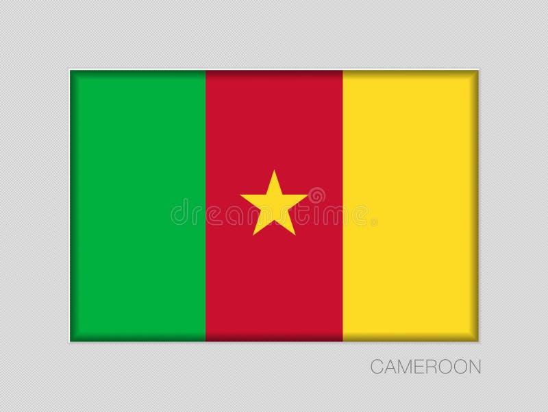 Σημαία του Καμερούν Εθνικός Ensign λόγος διάστασης 2 έως 3 στο γκρίζο χαρτόνι διανυσματική απεικόνιση