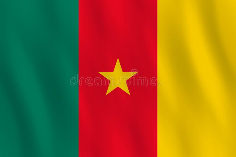 Σημαία του Καμερούν με την επίδραση κυματισμού, επίσημη αναλογία απεικόνιση αποθεμάτων