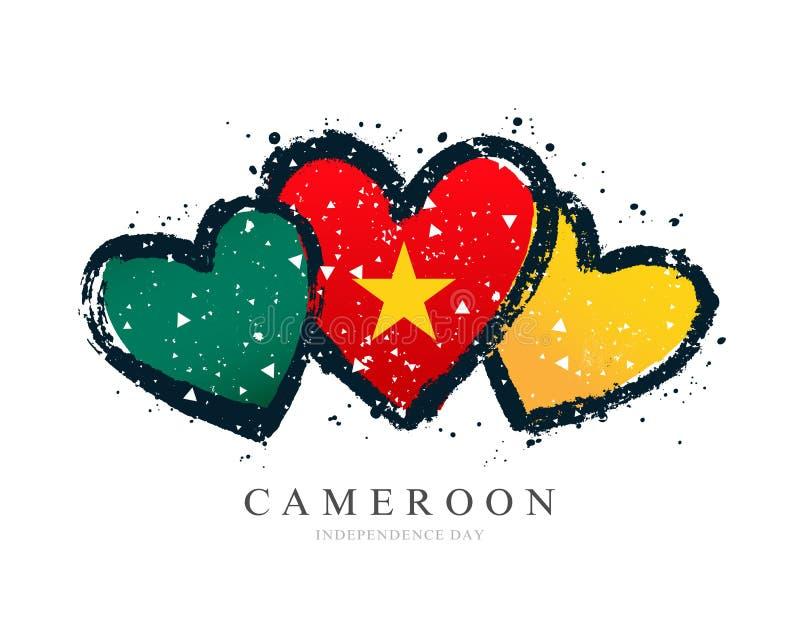 Σημαία του Καμερούν υπό μορφή τριών καρδιών απεικόνιση αποθεμάτων