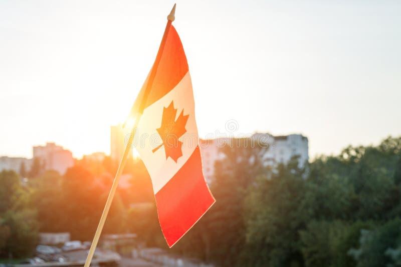 Σημαία του Καναδά από το υπόβαθρο ηλιοβασιλέματος παραθύρων στοκ φωτογραφίες με δικαίωμα ελεύθερης χρήσης