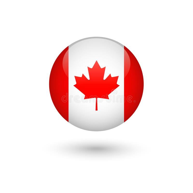 Σημαία του Καναδά γύρω από στιλπνό ελεύθερη απεικόνιση δικαιώματος