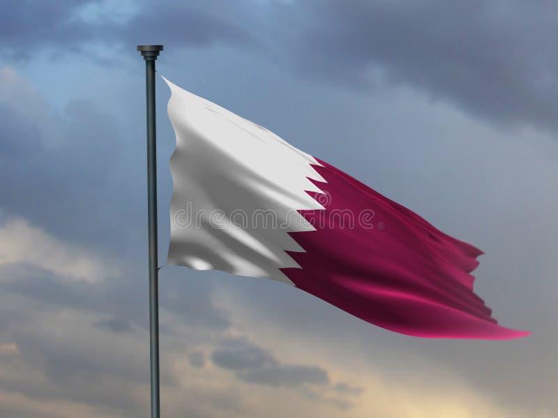 Σημαία του Κατάρ, χρώματα Qatari, καφέ τρισδιάστατη απόδοση στοκ εικόνα
