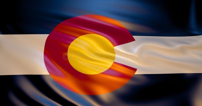 Σημαία του Κολοράντο στον αέρα τρισδιάστατη απεικόνιση ελεύθερη απεικόνιση δικαιώματος