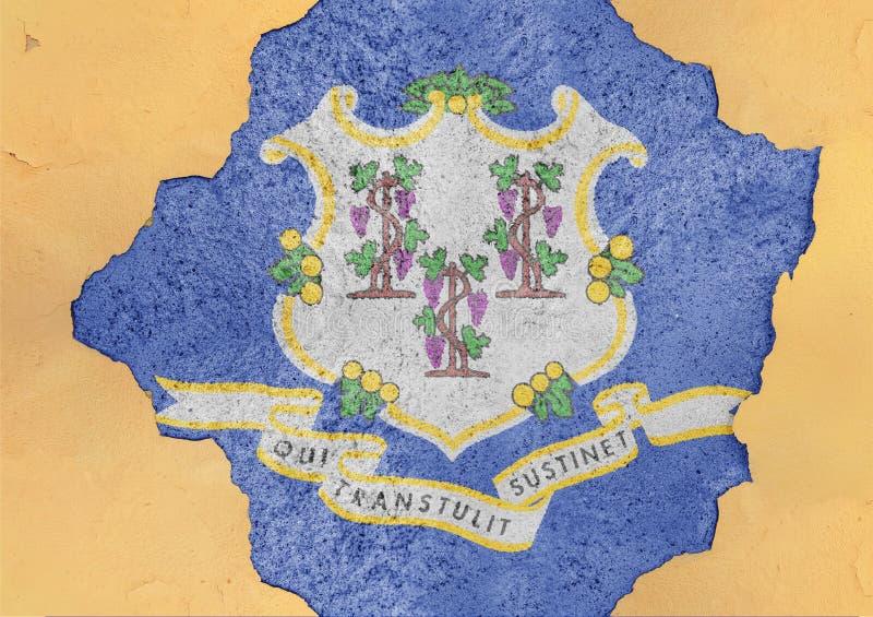 Σημαία του Κοννέκτικατ αμερικανικού κράτους στη μεγάλη συγκεκριμένη ραγισμένη τρύπα και το σπασμένο τοίχο στοκ φωτογραφία