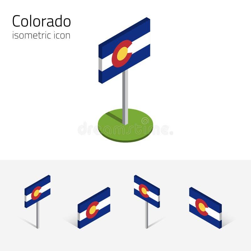 Σημαία του Κολοράντο ΗΠΑ, διανυσματικά τρισδιάστατα isometric επίπεδα εικονίδια ελεύθερη απεικόνιση δικαιώματος
