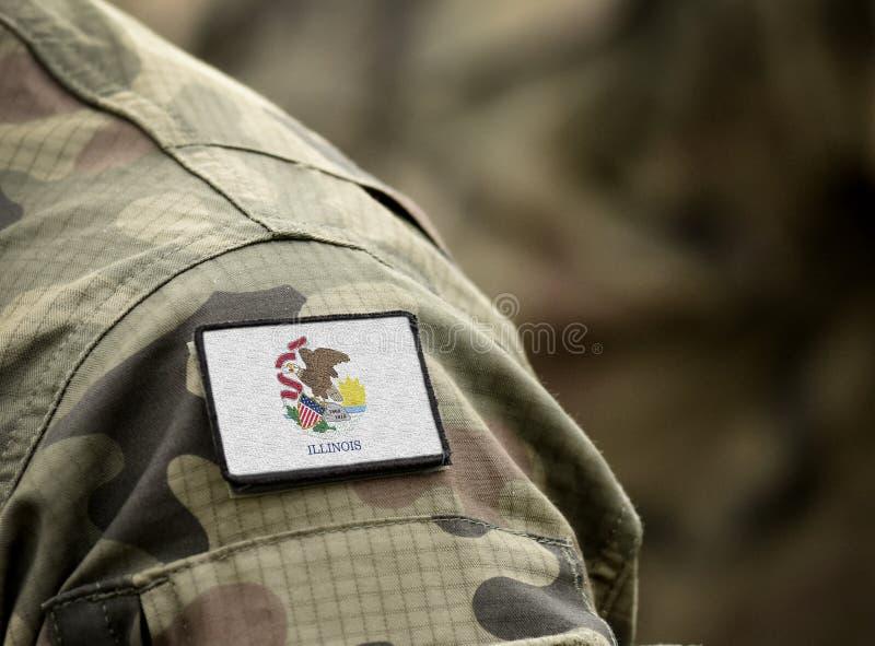 Σημαία του κράτους του Ιλινόις με στρατιωτική στολή ΗΠΑ ΗΠΑ, στρατός, στρατιώτες στοκ εικόνα
