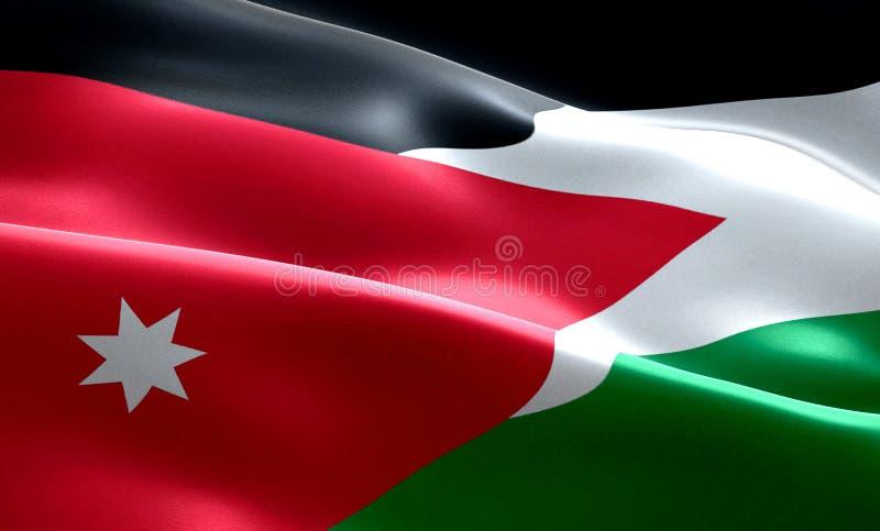 Σημαία του κυματίζοντας υποβάθρου υφάσματος σύστασης λουρίδων της Ιορδανίας, εθνικός αραβικός πολιτισμός συμβόλων στοκ φωτογραφίες