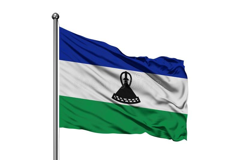 Σημαία του Λεσόθο που κυματίζει στον αέρα, απομονωμένο άσπρο υπόβαθρο Βασίλειο του Λεσόθο στοκ εικόνα με δικαίωμα ελεύθερης χρήσης