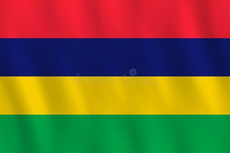 Σημαία του Μαυρίκιου με την επίδραση κυματισμού, επίσημη αναλογία διανυσματική απεικόνιση