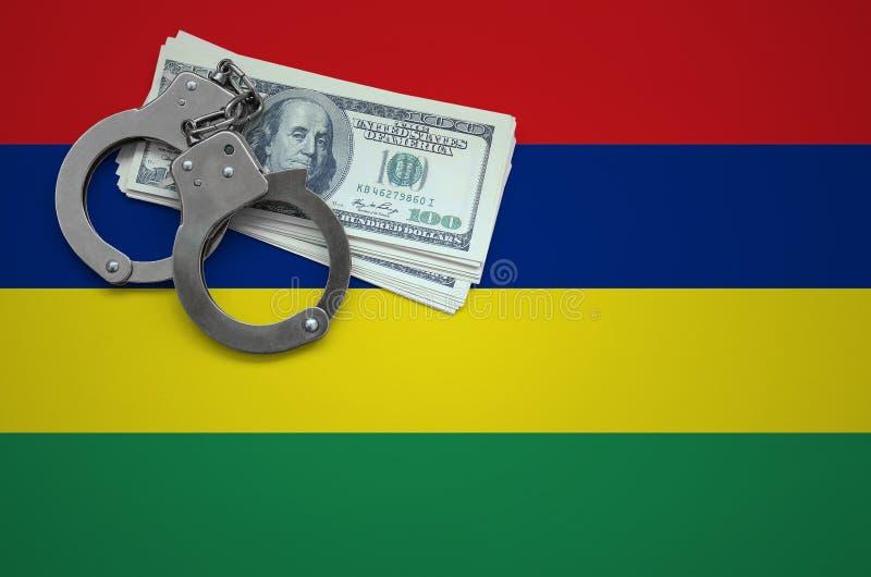 Σημαία του Μαυρίκιου με τις χειροπέδες και μια δέσμη των δολαρίων Η έννοια της παράβασης του νόμου και των εγκλημάτων κλεφτών στοκ εικόνες