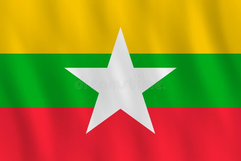 Σημαία του Μιανμάρ με την επίδραση κυματισμού, επίσημη αναλογία ελεύθερη απεικόνιση δικαιώματος