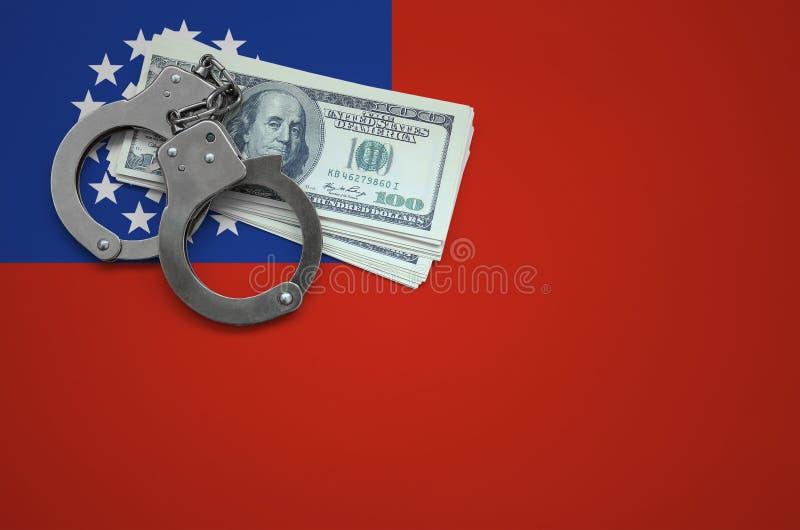 Σημαία του Μιανμάρ με τις χειροπέδες και μια δέσμη των δολαρίων Η έννοια της παράβασης του νόμου και των εγκλημάτων κλεφτών στοκ εικόνες με δικαίωμα ελεύθερης χρήσης