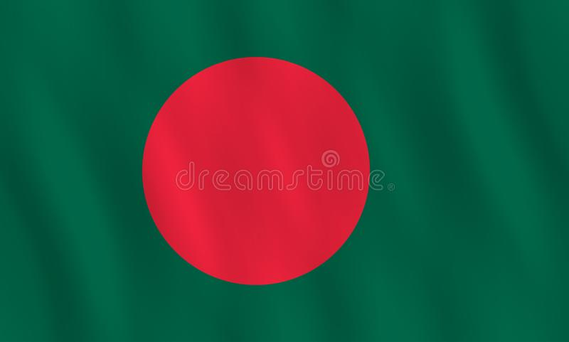 Σημαία του Μπανγκλαντές με την επίδραση κυματισμού, επίσημη αναλογία διανυσματική απεικόνιση