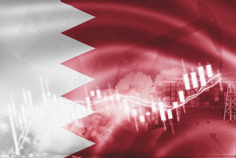 Σημαία του Μπαχρέιν, χρηματιστήριο, οικονομία ανταλλαγής και εμπόριο, παραγωγή πετρελαίου, σκάφος εμπορευματοκιβωτίων στην εξαγωγ απεικόνιση αποθεμάτων