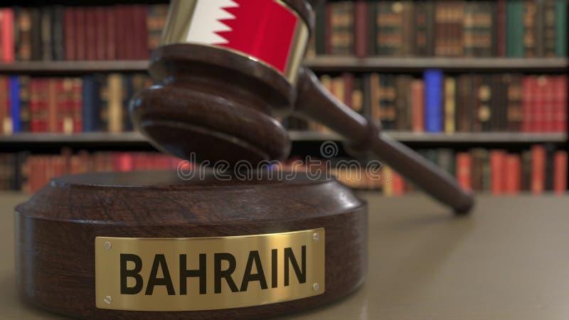 Σημαία του Μπαχρέιν gavel δικαστών στο δικαστήριο Η εθνική δικαιοσύνη ή η αρμοδιότητα αφορούσε την εννοιολογική τρισδιάστατη απόδ ελεύθερη απεικόνιση δικαιώματος