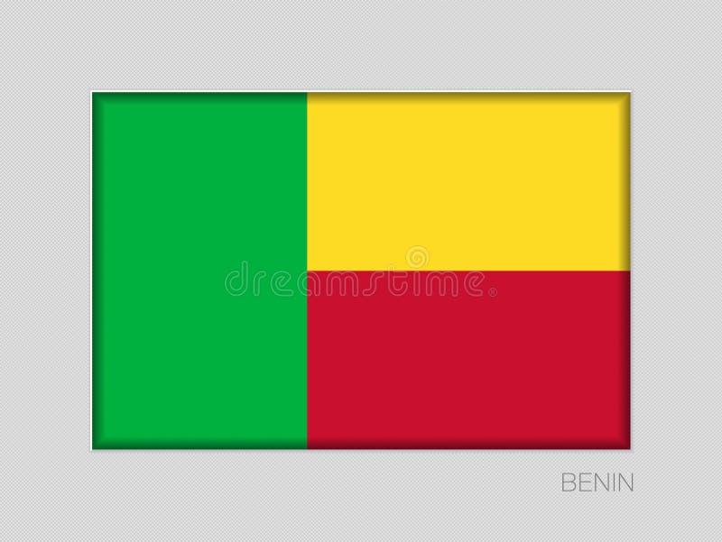 Σημαία του Μπενίν Εθνικός Ensign λόγος διάστασης 2 έως 3 στο γκρίζο χαρτόνι διανυσματική απεικόνιση