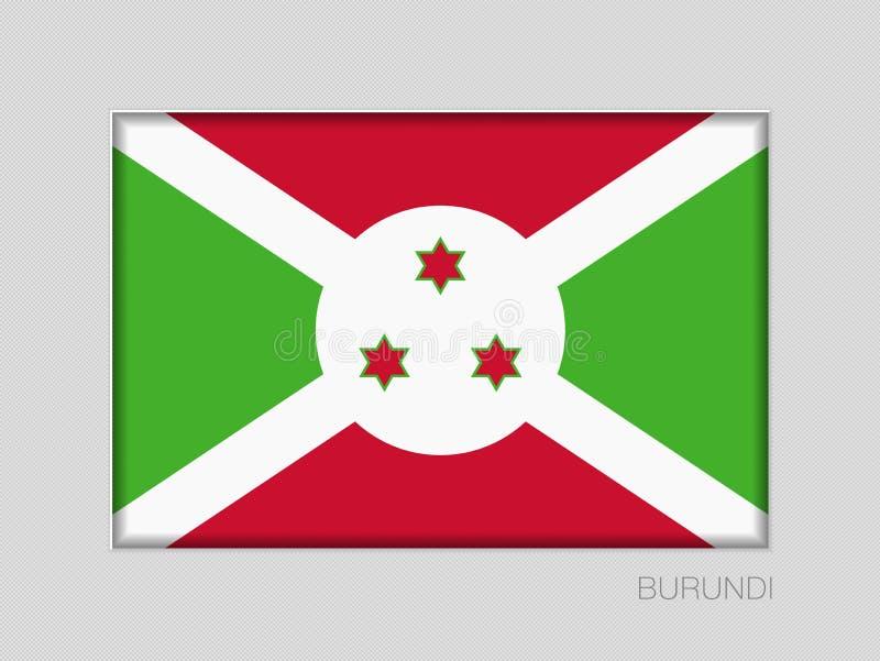 Σημαία του Μπουρούντι Εθνικός Ensign λόγος διάστασης 2 έως 3 στο γκρίζο χαρτόνι απεικόνιση αποθεμάτων