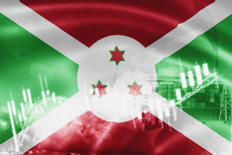 Σημαία του Μπουρούντι, χρηματιστήριο, οικονομία ανταλλαγής και εμπόριο, παραγωγή πετρελαίου, σκάφος εμπορευματοκιβωτίων στην εξαγ απεικόνιση αποθεμάτων