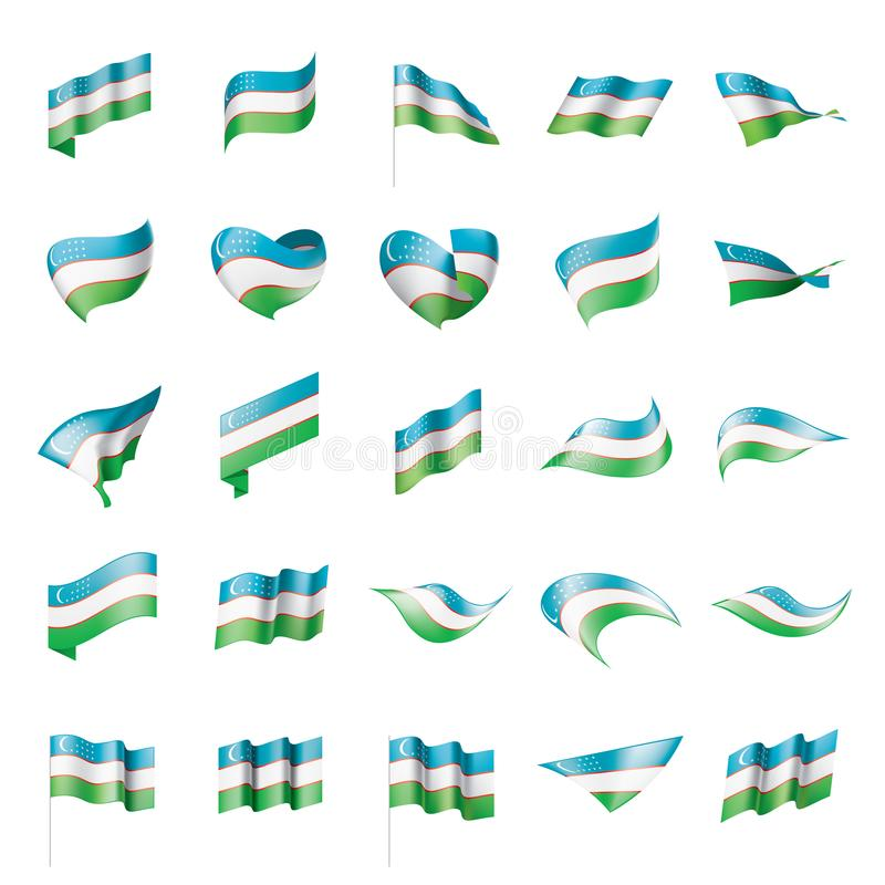 Σημαία του Ουζμπεκιστάν, διανυσματική απεικόνιση απεικόνιση αποθεμάτων