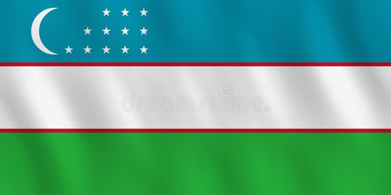 Σημαία του Ουζμπεκιστάν με την επίδραση κυματισμού, επίσημη αναλογία ελεύθερη απεικόνιση δικαιώματος