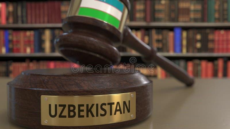 Σημαία του Ουζμπεκιστάν gavel δικαστών στο δικαστήριο Η εθνική δικαιοσύνη ή η αρμοδιότητα αφορούσε την εννοιολογική τρισδιάστατη  ελεύθερη απεικόνιση δικαιώματος