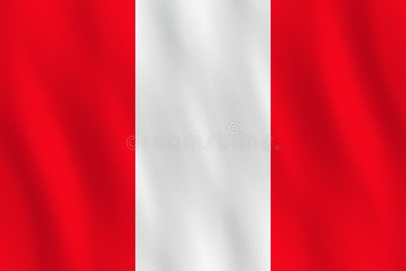 Σημαία του Περού με την επίδραση κυματισμού, επίσημη αναλογία διανυσματική απεικόνιση