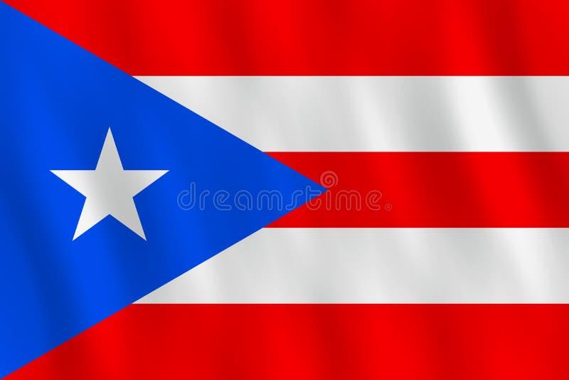 Σημαία του Πουέρτο Ρίκο με την επίδραση κυματισμού, επίσημη αναλογία ελεύθερη απεικόνιση δικαιώματος