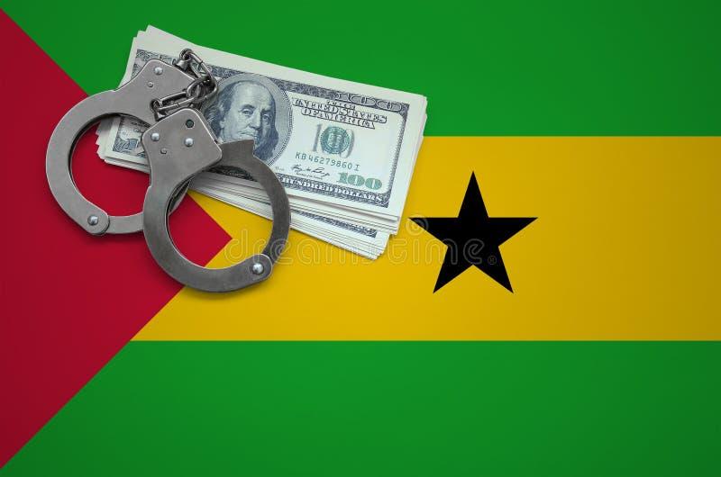 Σημαία του Σάο Τομέ και Πρίντσιπε με τις χειροπέδες και μια δέσμη των δολαρίων Η έννοια της παράβασης του νόμου και των εγκλημάτω στοκ εικόνες