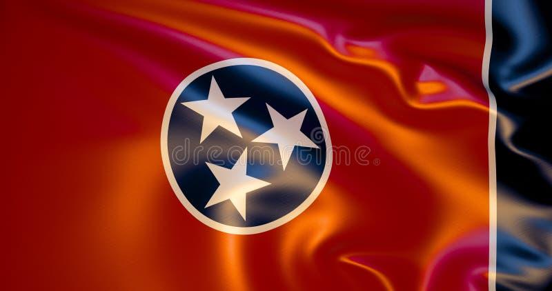 Σημαία του Τένεσι στον αέρα τρισδιάστατη απεικόνιση διανυσματική απεικόνιση