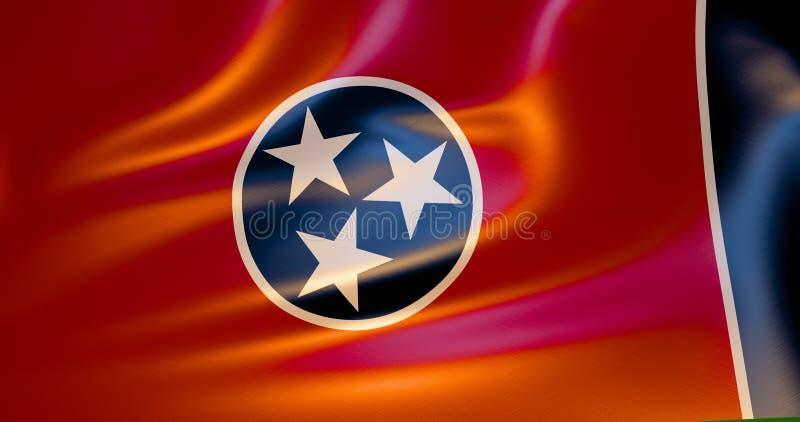 Σημαία του Τένεσι στον αέρα τρισδιάστατη απεικόνιση ελεύθερη απεικόνιση δικαιώματος