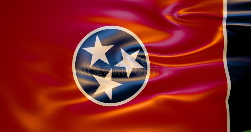 Σημαία του Τένεσι στον αέρα τρισδιάστατη απεικόνιση απεικόνιση αποθεμάτων