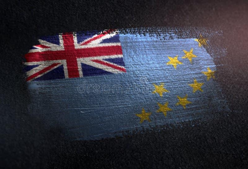 Σημαία του Τουβαλού φιαγμένη από μεταλλικό χρώμα βουρτσών στο σκοτεινό τοίχο Grunge στοκ εικόνα με δικαίωμα ελεύθερης χρήσης