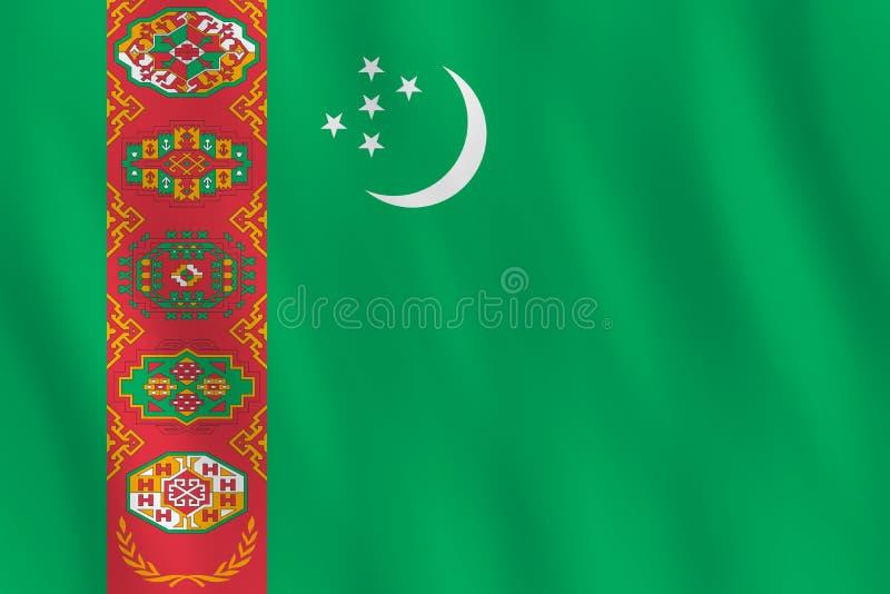 Σημαία του Τουρκμενιστάν με την επίδραση κυματισμού, επίσημη αναλογία απεικόνιση αποθεμάτων