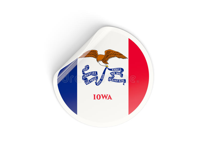 Σημαία του Iowa, αμερικανικό κράτος γύρω από την αυτοκόλλητη ετικέττα απεικόνιση αποθεμάτων