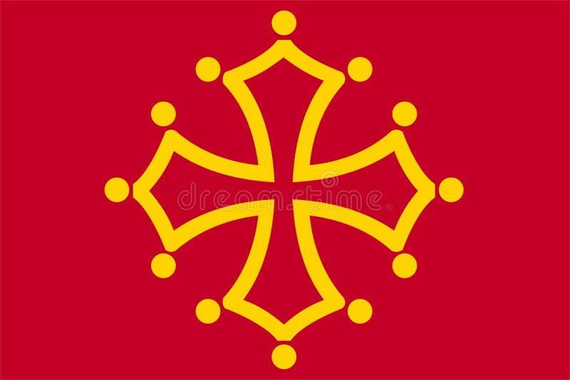 Σημαία του Midi Pyrénées απεικόνιση αποθεμάτων