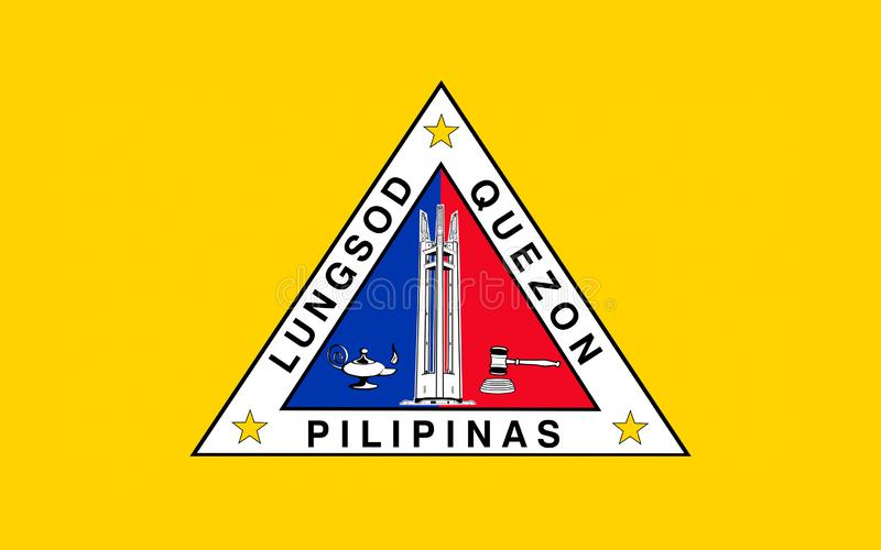 Σημαία του Quezon City, Φιλιππίνες στοκ εικόνα με δικαίωμα ελεύθερης χρήσης