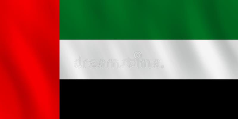 Σημαία των Ηνωμένων Αραβικών Εμιράτων με την επίδραση κυματισμού, επίσημη αναλογία ελεύθερη απεικόνιση δικαιώματος