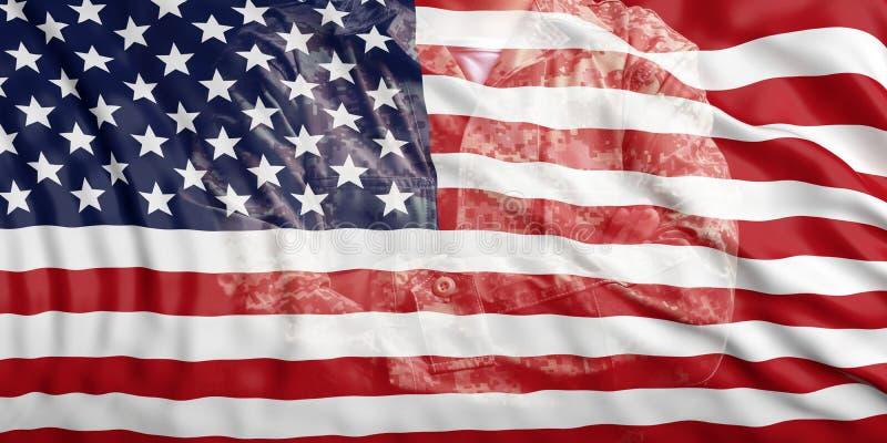 Σημαία των Ηνωμένων Πολιτειών της Αμερικής και εξασθενισμένος στρατιώτης σε ομοιόμορφο τρισδιάστατη απεικόνιση ελεύθερη απεικόνιση δικαιώματος