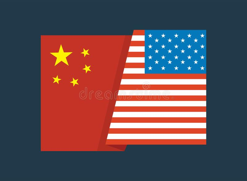 Σημαία των Ηνωμένων Πολιτειών της Αμερικής και σημαία της Κίνας από κοινού Σημαία των Ηνωμένων Πολιτειών της Αμερικής και σημαία  ελεύθερη απεικόνιση δικαιώματος
