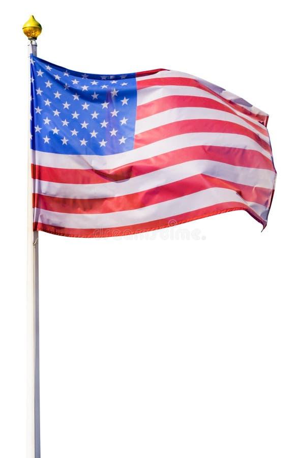 Σημαία των Ηνωμένων Πολιτειών της Αμερικής που απομονώνονται στο λευκό στοκ εικόνα