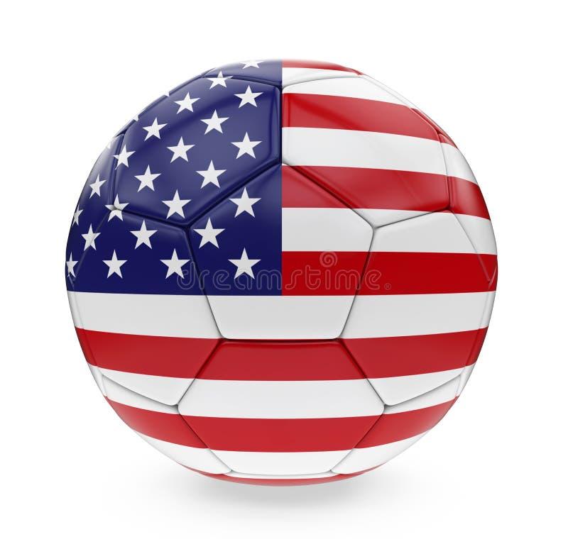 Σημαία των Ηνωμένων Πολιτειών της Αμερικής σφαιρών ποδοσφαίρου που απομονώνεται διανυσματική απεικόνιση