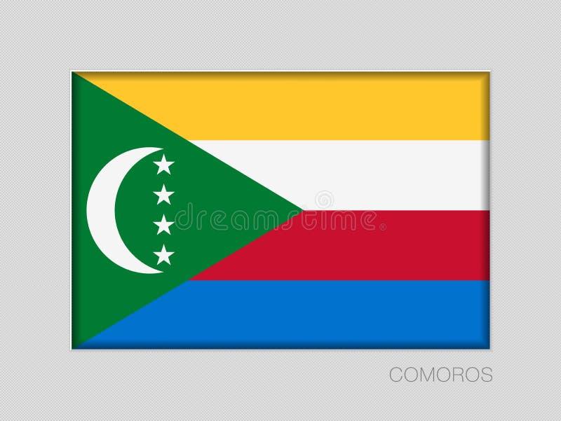 Σημαία των Κομορών Εθνικός Ensign λόγος διάστασης 2 έως 3 στο γκρίζο χαρτόνι απεικόνιση αποθεμάτων