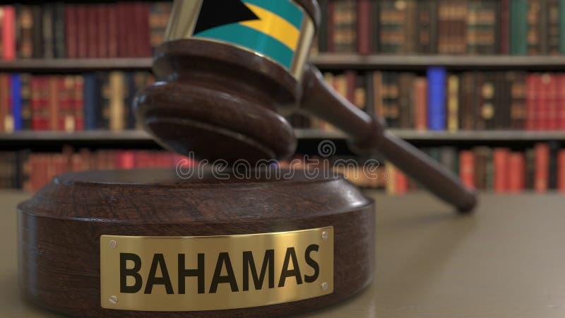 Σημαία των Μπαχαμών μειωμένο gavel δικαστών στο δικαστήριο Η εθνική δικαιοσύνη ή η αρμοδιότητα αφορούσε την εννοιολογική τρισδιάσ απεικόνιση αποθεμάτων